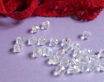 5 clear iridescent swarovski crystal beads