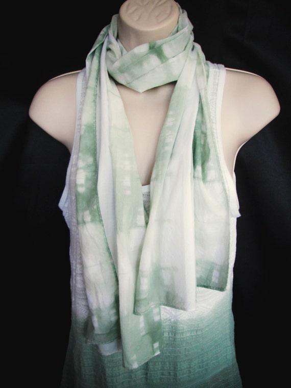 Hand Dyed Shirobi Tie Dye Scarf in Muir Green