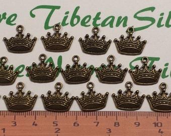 20 pcs per pack 18x16mm Crown Charm Antique Bronze Finish Lead Free Pewter