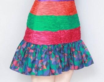 Vintage 1980's Silk Jolie Femme Vibrant Ruffled Mini Skirt