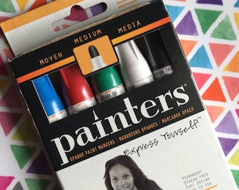 Elmer's Painters Opaque Paint Markers, Set of 5 Markers, Bright Colors, Medium Point