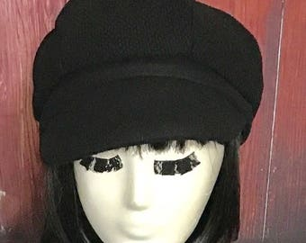 Black Wool Newsboy Cap, Fisherman Hat, Black Newsboy Hat, Black Cap