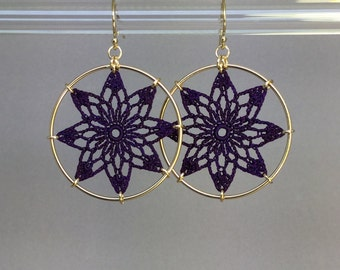 Tavita doily earrings, purple hand-dyed silk thread, 14K gold-filled