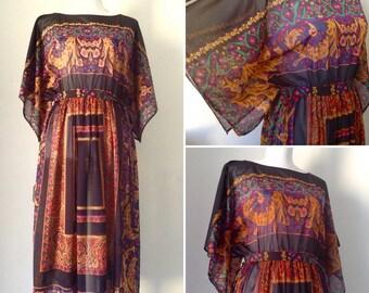 French VTG 1970s black hankerchief cachemire bohemian printed mesh sheer midi / kimono sleeves dress