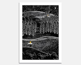 Catching Stars Art Print / wall art / fishing / wilderness / black and white  / forest / lake / night sky / stars / boat / moon