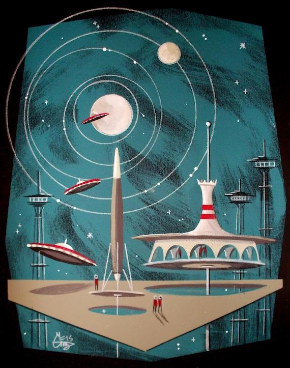 El gato gomez outer space futuristic retro art print for Retro outer space