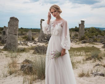 Romantic Sheath Handmade Wedding Dress with Long Sleeves, Bridal Gowns & Separates, Tulle Wedding Gown Buy Online 007W