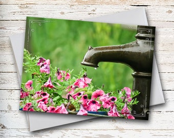 Gentle Rain Note Card, Pink Petunias, Photo Note Card, Floral Note Card, Sympathy Card, Thinking of You, Thank You Card, All Occasion Card