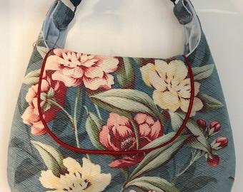 Handmade Vintage 1940s Barkcloth Hobo/Shoulder Handbag
