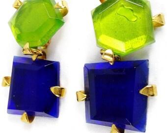 Vintage DOMINIQUE AURIENTIS PARIS Massive Runway Poured Glass Multicolor Clip on Dangle Earrings