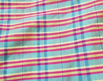 "100% Silk Shantung dupioni Plaid usable for drapery, decorations and for apparel use. 45"" wide."