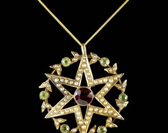 Antique Victorian 15ct Gold Suffragette Star Pendant and Chain Circa 1900