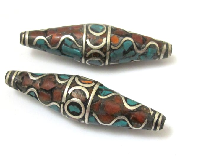 1 BEAD - Long bicone shape nepalese brass beads with wavy design turquoise and coral inlay - BD632