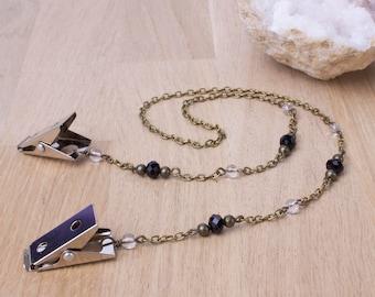 Napkin chain clips - Quartz and black bead bronze serviette clip napkin holder | Foodie gift | Gemstone napkin cord | Napkin neck chain