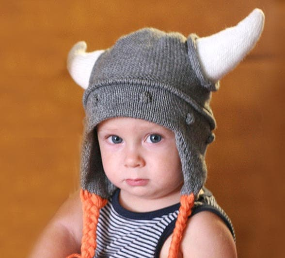 Viking kids hat Child knit hat Viking hat with hornes