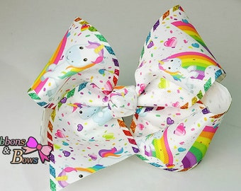 """Girls JoJo inspired unicorn 7""""  handmade Hair Bow Clip"""
