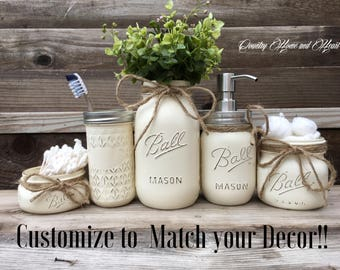 Mason Jar Bathroom Set-Bathroom Decor-Housewarming Gift-Bathroom Set-Mason Jar Bath Set-Bathroom Organizer-Bathroom Decor-Rustic Bathroom