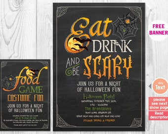 Halloween Invitation, Eat Drink and Be Scary Halloween Party Invitation, Black and Orange Invite, Bat Printed Printable Invitation