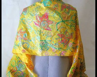 Hand Painted Silk Scarf-Hand Printed Silk-Indian Silk-Golden Yellow-Yellow-Scarf-Shawl-Wrap-Original Design-Women-Leafs-Unique-Gift-Wearable