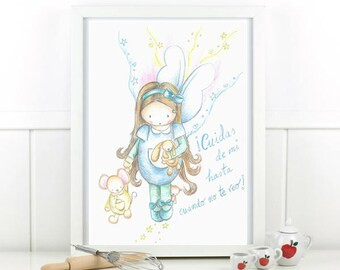 "Children's illustration ""fairy who takes care of my animals"". Printed sheet. Children's table."