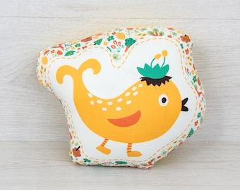 FREE SHIPPING Birdie, Stuffed birdie, Pillow, Nursery Decor, Soft Toy, Plush Toy, Kids Room Decor, birdie Cushion, Decorative Pillow, bird