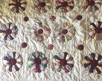 Vintage Applique' Quilt Dresden Flower Quilt Applique Feedsack Material Cream Burgundy 59 x 76 Inches Country Farmhouse Decor