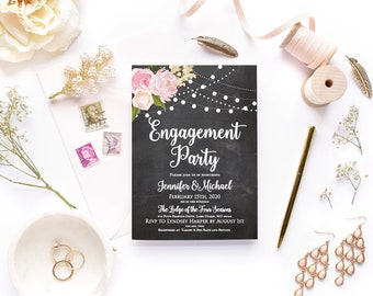 Engagement Party Invitation Floral Invitation Engagement Invitation Printable They're Engaged We're Engaged Engagement Party #CL104