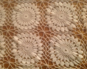 Pretty White French Vintage Crocheted Table Runner, Placemat, Centrepiece or Dresser Runner.