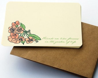 Friends are Like Flowers Friendship Notecard Set in Peach, Green and Cream -Set of 6 flat Notecards and Kraft Envelopes