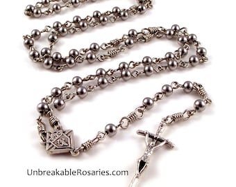 Knights of Columbus Rosary Beads For Men Stainless Steel Beads by Unbreakable Rosaries