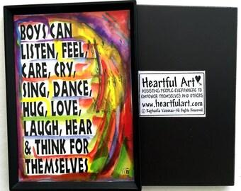 What BOYS Can Do MAGNET Inspirational Original Motivational CLASSROOM Decor Confidence Freedom Children Heartful Art by Raphaella Vaisseau