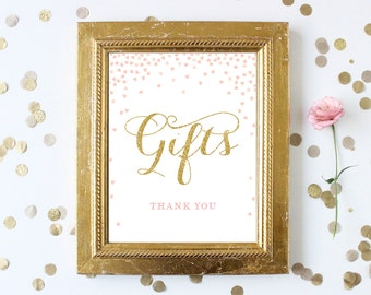 Gifts Thank You Sign Printable 8x10 . Pink and Gold Glitter Bridal Shower Sign . Bridal Shower Wedding . Digital Download . Instant Download