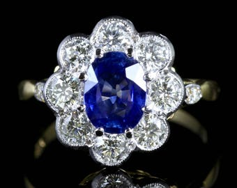 Sapphire Diamond Ring Cluster 18ct Gold Ring Spectacular