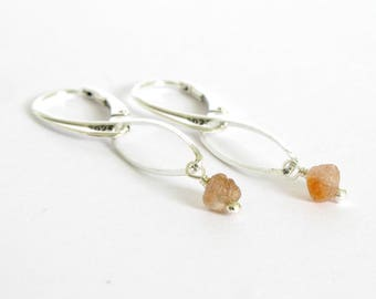 Rough Montana Sapphire Earrings, Raw Sapphire and Sterling Silver Earrings, Orange Montana Sapphires, Rare Color Genuine Uncut Sapphires
