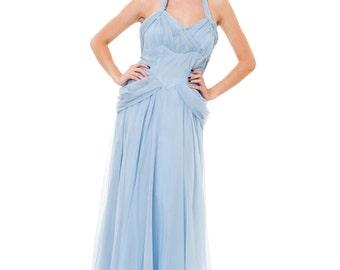 1930s Vintage Flouncy Powder Blue Halter Strap Princess Dress Size: S/M/L