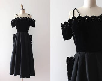 vintage 1950s evening dress // 50s pointed scalloped velvet and acetate party dress