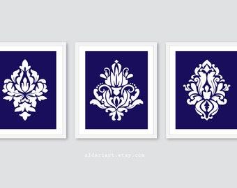 Estampes de Damas, Damas Wall Art, tirages d'Art de Damas, oeuvre Damas, damas decor, art bleu marine et blanc, couleurs personnalisées, lot de 3 gravures Damas