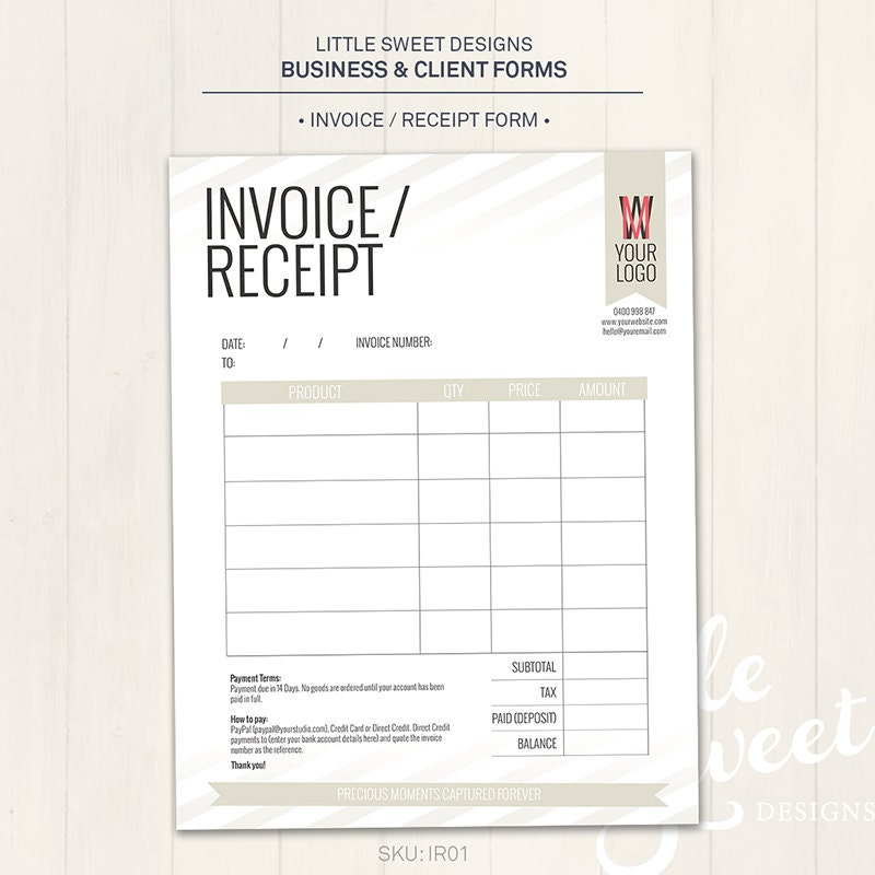 Photography Studio  Invoice Receipt Form Photoshop Template