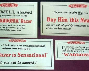 4 vintage Wardonia razor counter signs, British
