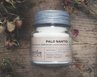 Palo Santo - Crystal Candle  Soy Candle- WITCHCRAFT - Artisanal Small Batch Hand Poured Made in New England Soy Candle