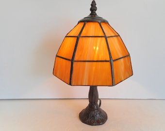 Stained Glass Accent Light Amber Lamp