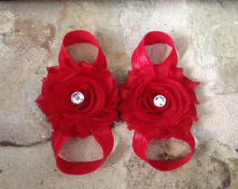 Red baby barefoot sandals, red baby shoes, red, barefoot sandals, christmas, valentines, gem embellishment, newborn baby barefoot sandals