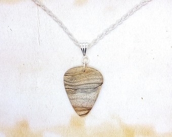 Picture Jasper Gemstone Guitar Pick Pendant On Silver Plated Rope Chain Necklace