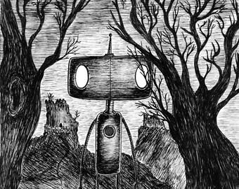 Friends Reunited- A3 robot art print by Jon Turner- macabre geeky artwork- FREE WORLDWIDE SHIPPING
