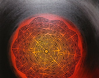 Modern painting: tribal Sun.