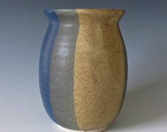 Medium Vase:  Denim Blue, Teal Blue, Deep Green & Sandstone Vase. Flowers, Twigs, Utensils, Office Tools
