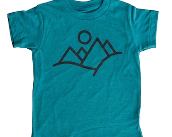 Minimal Mountains Tshirt for kids | Mountains Calling Shirt | Kids Shirt for Summer | Shirt by Tacklebox Design Co.