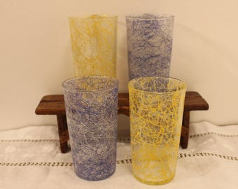 Vintage Set Of Four Spaghetti String Tumblers Yellow And Blue Mid-Century