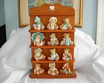 Cherished Teddies Full 12 Figure Set with Wooden Display Shelf | 914 Series  | P. Hillman for Enesco | Vintage 1993 | Best Offer