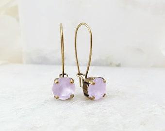 Violet Crystal Earrings - Lavender Rhinestone Earrings - Swarovski Crystal Drop Earrings - Purple Rhinestone Jewelry - Orchid Earrings E3982